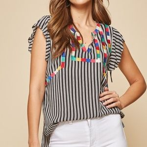 NWT Embroidered Bib Striped Flutter Sleeve Top